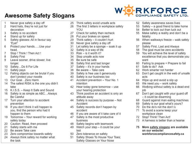 The  Best Safety Slogans Ideas On   Slogans De