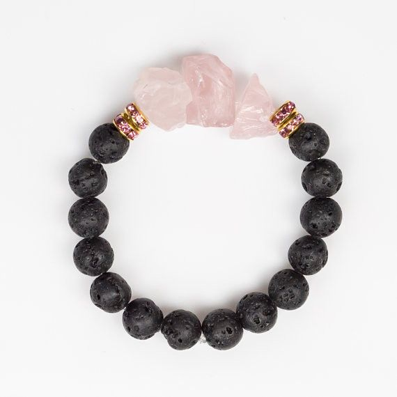 Rose Quartz and Lava Stone Bracelet - Self-Love
