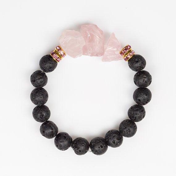 Rose Quartz and Lava Stone Bracelet - Self-Love