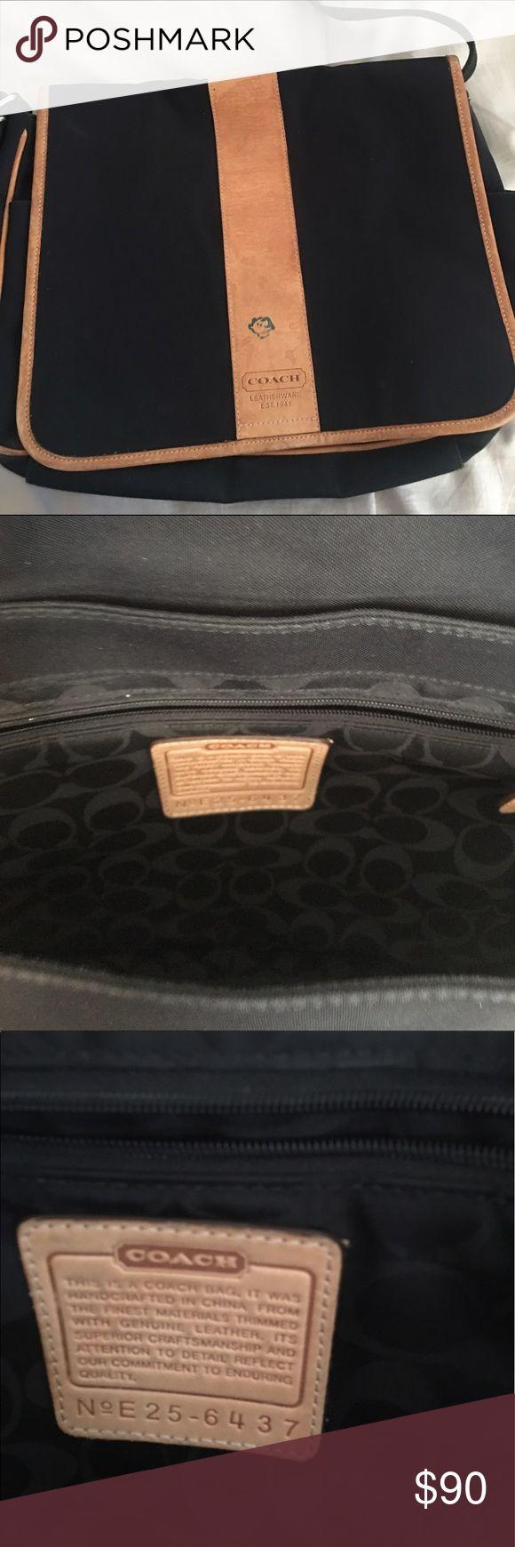 Coach messenger bag LARGE COACH BLACK TRANSATLANTIC MESSENGER CROSSBODY HANDBAG #E25-6437 LAPTOP BAG! Coach Bags Laptop Bags