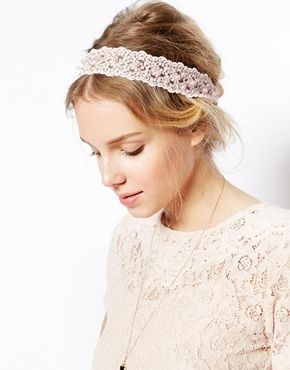ASOS Lace & Faux Pearl Headband - Pink