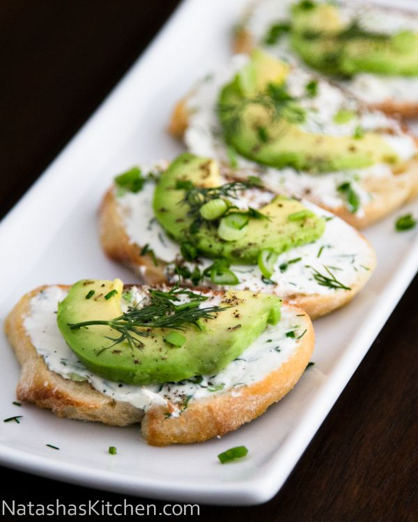 Canapes with Garlic Herb Cream Cheese and Avocado, she calls it an appetizer, I call it lunch!