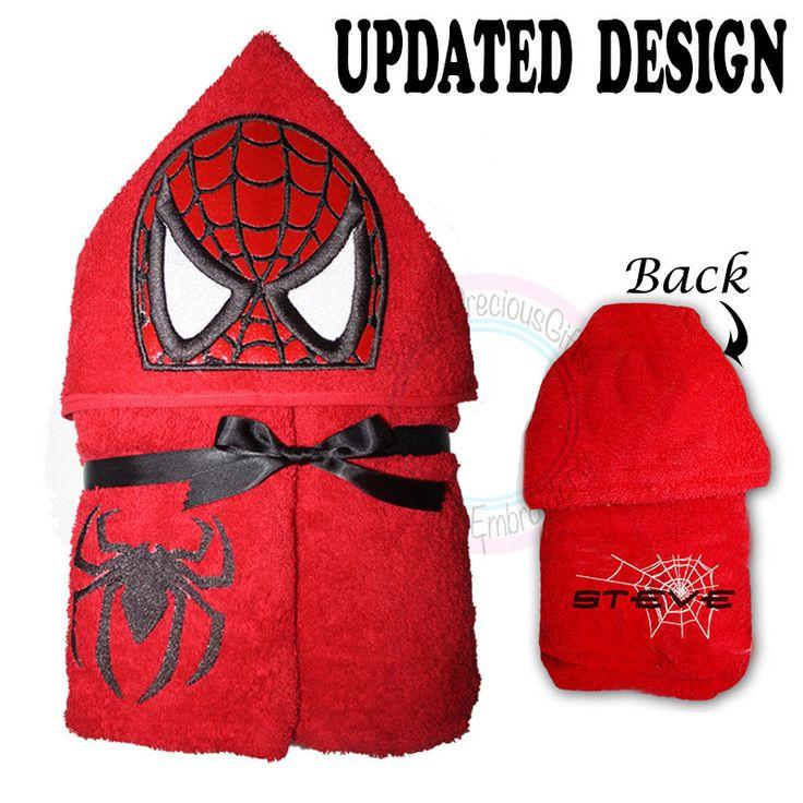 Spiderman, Hooded Towel, towel, childrens towel, spider towel, personalised towel, red towel, boy hooded towel, bath towel, superhero towel - pinned by pin4etsy.com