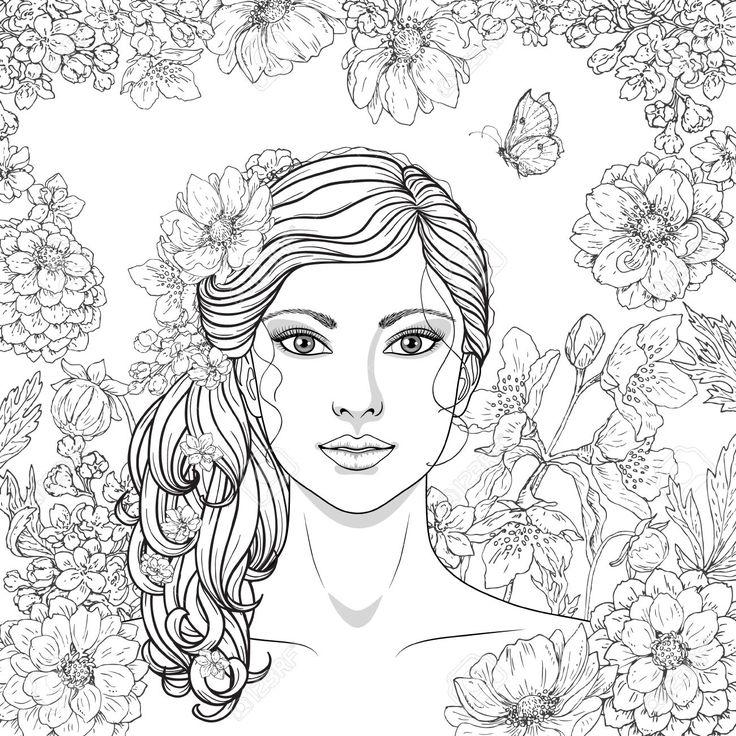 Dibujado Mano Muchacha Con Flores Y Mariposas Garabatos