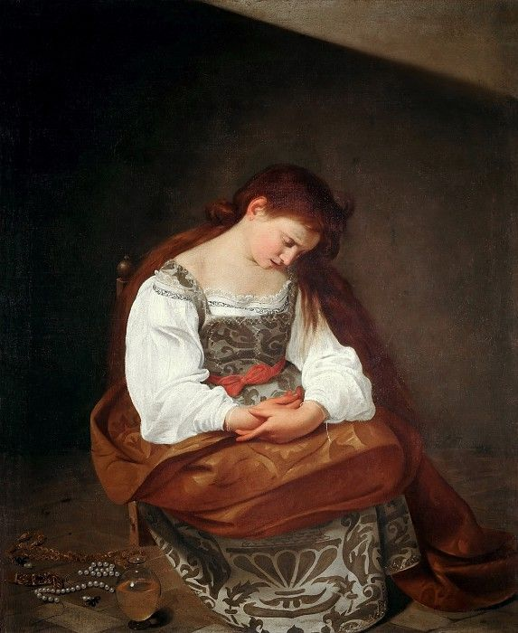 Мария Магдалина. Микеланджело Меризи да Караваджо.  Галерея Дориа-Памфили, Рим.