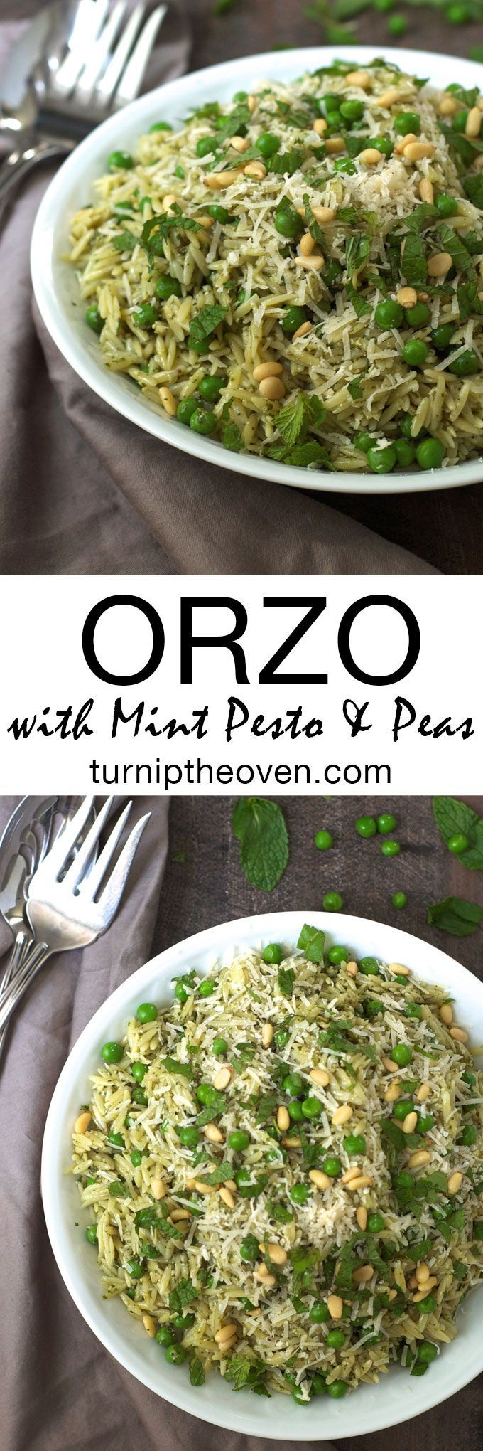 This healthy, fresh orzo with mint pesto and peas is delicious paired with simply prepared chicken or fish. Bursting with the flavors of fresh mint, toasted pine nuts, and Parmesan cheese, it's the perfect side dish!