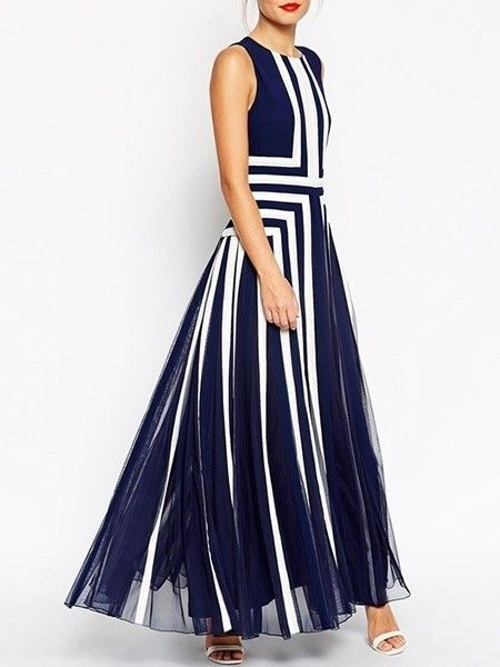 Ladylike Crew Neck  Patchwork Maxi-dresses Maxi Dresses from fashionmia.com