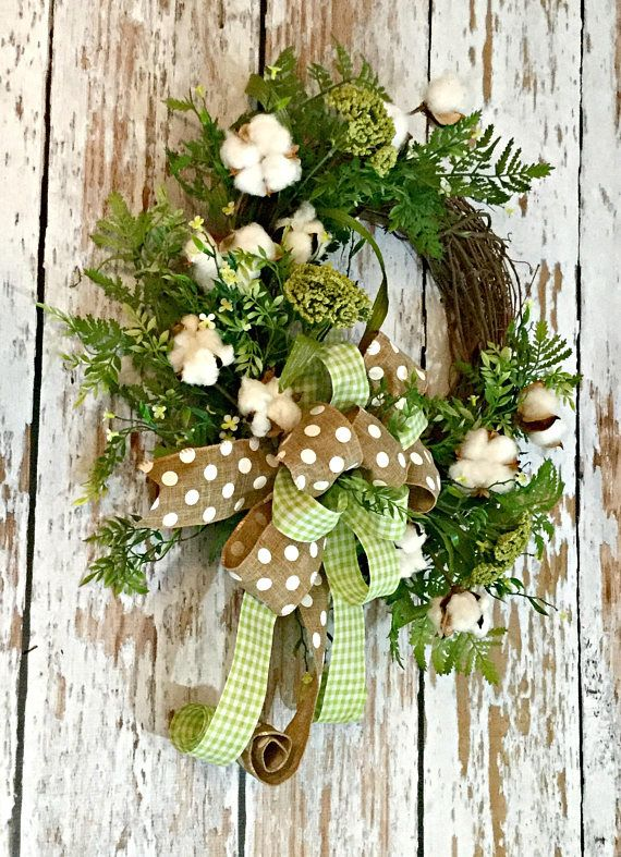 Cotton Boll And Farmhouse Wreaths Are A Great Way To Add Color And Simple Elegance To Any Room This Wreath Will M Cotton Wreath Cotton Boll Wreath Ball Wreath
