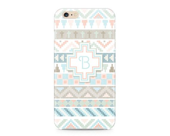 Pastel Tribal Pattern Phone Case, Custom Phone Case, Monogram Phone Case, Geometric Phone Case, Peach and Mint iPhone 6S, Samsung Galaxy