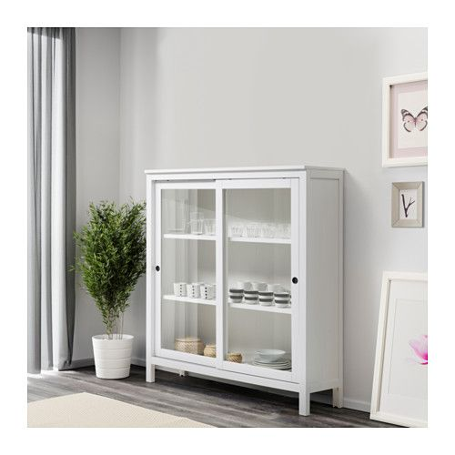 HEMNES Vitrinskåp - vitbets - IKEA
