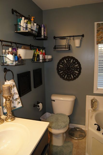 Bathroom storage. (Not sure I like this in the bathroom, but I like how they used those from Ikea.)
