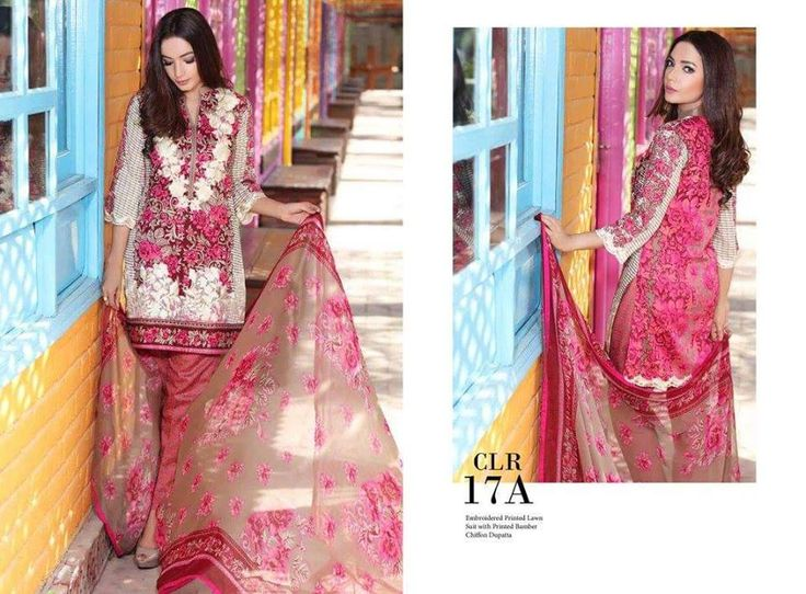 Womens Fashion Pakistani Designer Suits Haute Couture for work / Party and Casual wear- Charizma Vol.2 - Magenta and Cream Latest Summer Pakistani Premium Embroidered Cotton Lawn Suits with Pure Chiffon Dupatta...