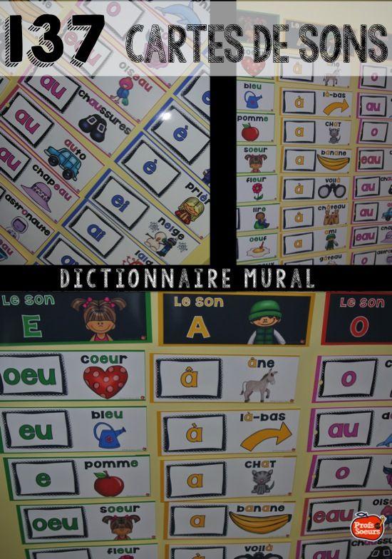 Des cartes de sons pour dictionnaire mural. Cette ressource comprend aussi des pages d'activités complètes.