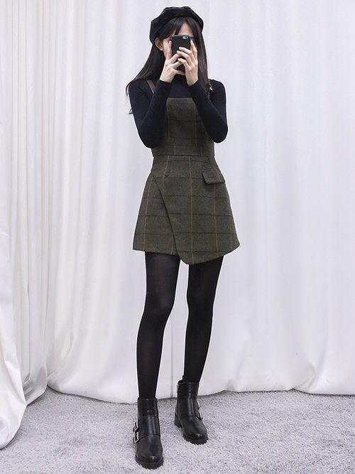 Korean Fashion Black Turtleneck Army Green Overall