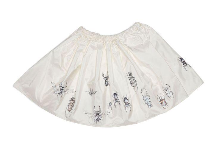 Silk Skirt handpainted bugs pattern