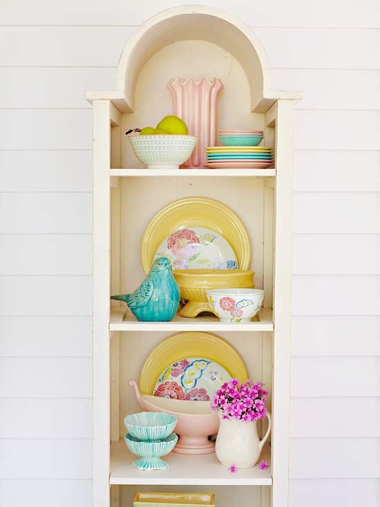 Add a dash of springtime cheer by displaying pretty pastel dishes.