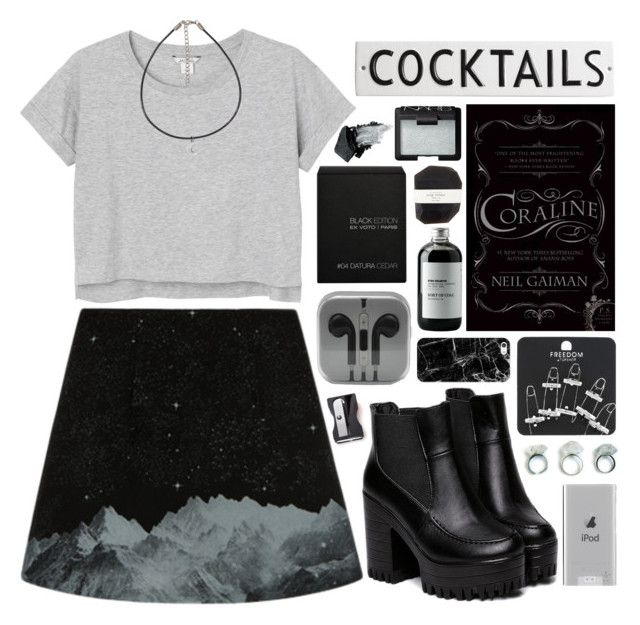 """Coraline"" by ladyvalkyrie ❤ liked on Polyvore featuring Monki, Topshop, Belkin, Casetify, Sort of Coal, Ex Voto Paris, Pelle, NARS Cosmetics, Monkey Business and Rosanna"