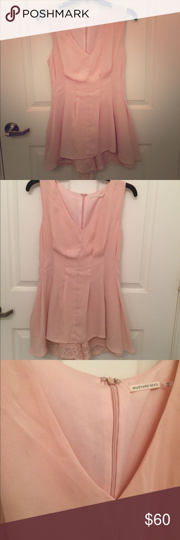 Pink lace romper dress Gorgeous Blush pink romper dress!! It has gorgeous lace shorts that peak underneath. Size: small. *tiny blemish in top right (shown in picture..should come out when laundered) Mustard Seed Dresses