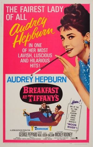Breakfast at Tiffanys Audrey Hepburn, 1965 - original vintage re-release movie poster for the award winning 1961 film Breakfast at Tiffany's starring George Peppard, Patricia Neal and Audrey Hepburn as Holly Golightly listed on AntikBar.co.uk