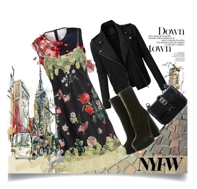 NYFW street style by malinkova on Polyvore featuring moda, Trust Toilette, Clover Canyon, LE3NO, Miu Miu, Valentino, StreetStyle and NYFW