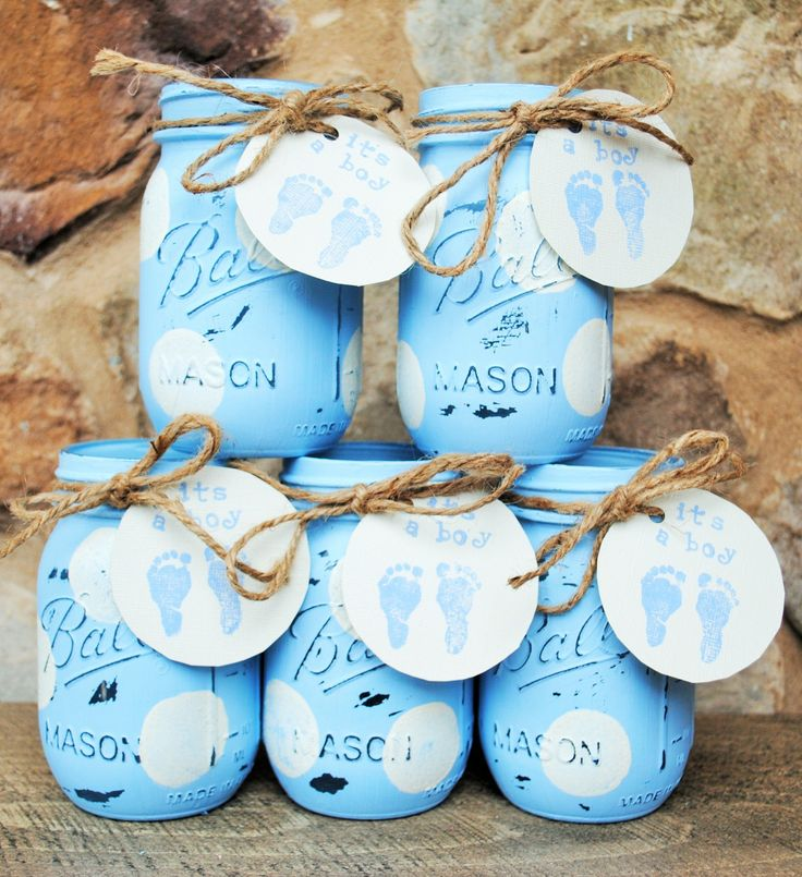 Painted Mason Jars, Baby Shower Centerpieces, Baby Boy Shower Mason Jars with It's a Boy Tag, Blue and White Polka Dots, Shabby Chic…