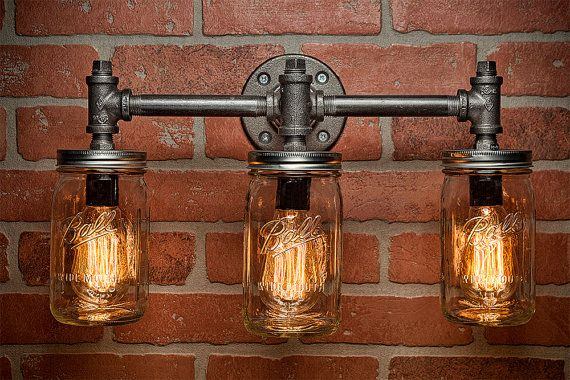 Industrial Lighting - Lighting - Mason Jar Light - Steampunk Lighting - Bar…