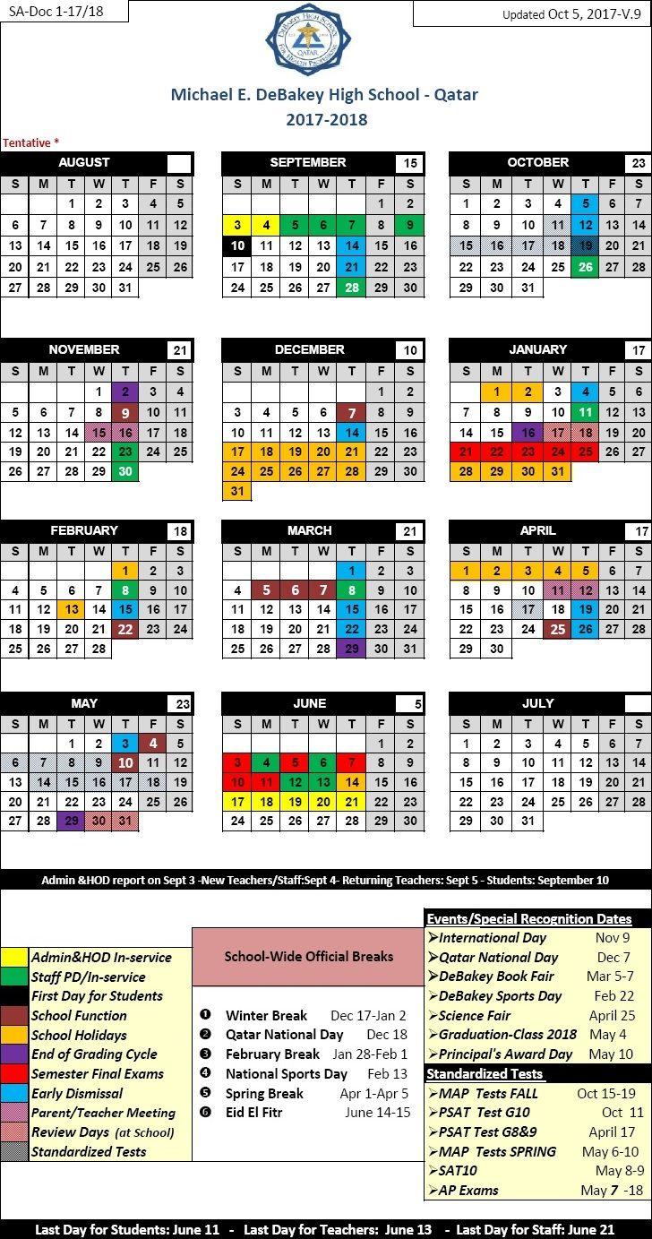 School Year Calendar Michael E Debakey High School Qatar