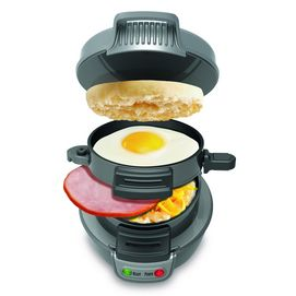 The Hamilton Beach Breakfast Sandwich Maker makes a breakfast sandwich in under 5 minutes with your own fresh ingredients, cooking every layer of your sandwich to perfection!