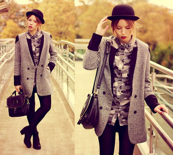 Choies Coat, Choies Shirt, Romwe Bag, Choies Hat