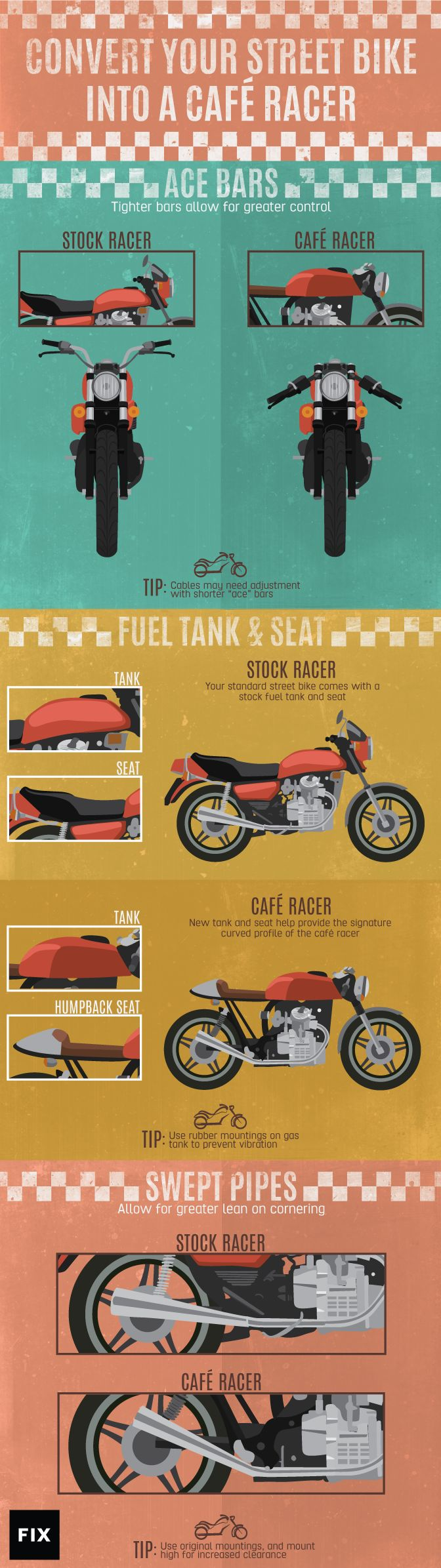 Changing the fuel tank, seat, and handle bars can transform your stock street bike into an aggressive café style racer with a curved, mean stance.