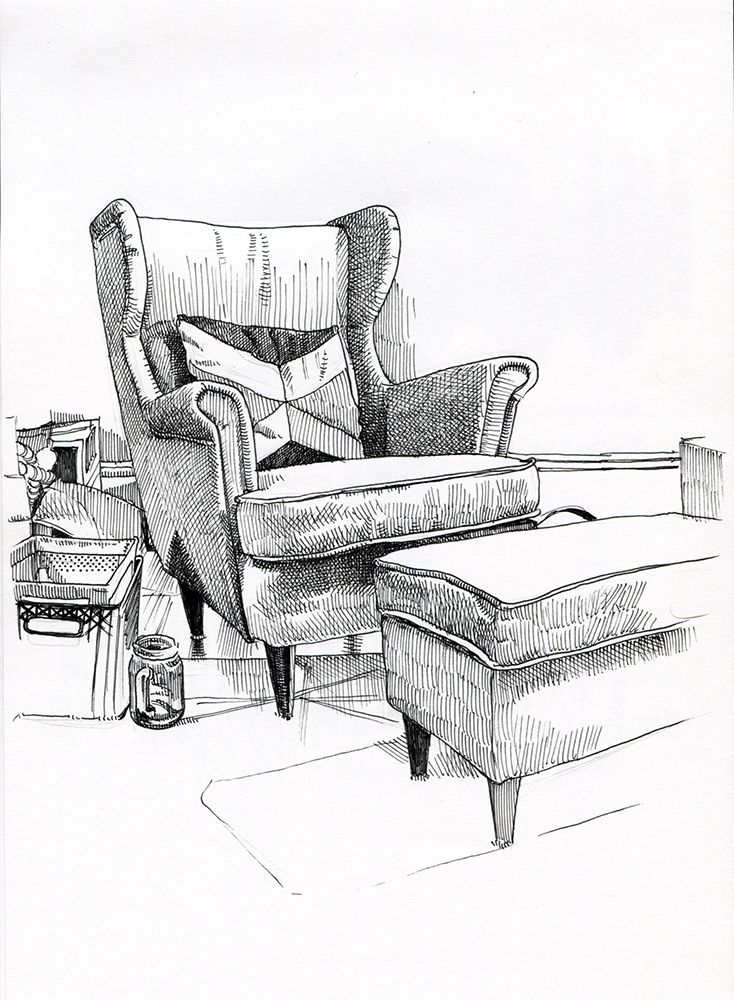 Living Room Sketch: Living Room Chair In 2020