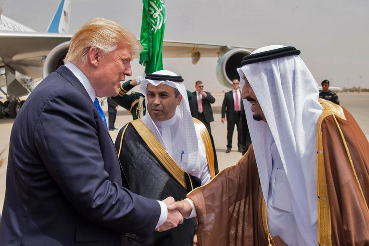 "Donald Trump has touched down in Saudi Arabia on his official trip abroad as President of the US. The visit is aimed at building stronger partnerships to combat terrorism in the region. Mr Trump flew to Riyadh overnight on Air Force One to become the only American president to make Saudi Arabia, or any majority Muslim country, his first stop overseas. After being greeted by King Salman at the airport, he said it was ""a great honour"" to be there before they attended a brief coffee ce..."