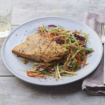 Maple mustard makes a delicious change from boring old honey mustard. Along with a spicy Asian slaw, it gives roasted salmon a whole new spin.- Visit PaneraBread.com for more inspiration.