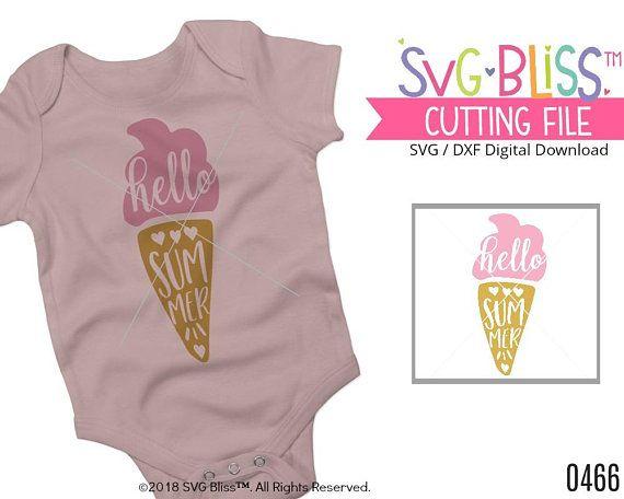 Hello Summer SVG, Ice Cream SVG, Kids, Girl, Cute, Summer