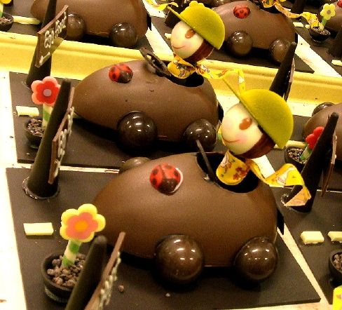 Chocolate Easter egg race cars!