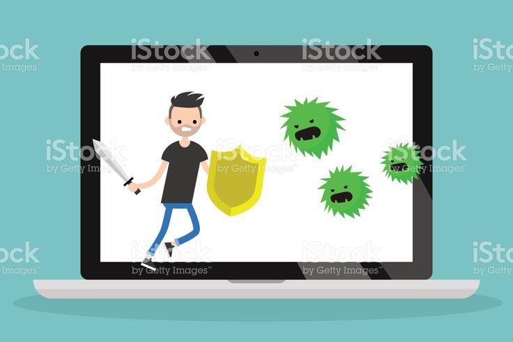 Young bearded man fighting against virus / flat editable vector illustration, clip art royalty-free stock vector art