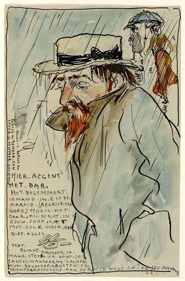 Leo Gestel - Selfportrait, 1905, Watercolour on paper, 13,5 x 9 cm.