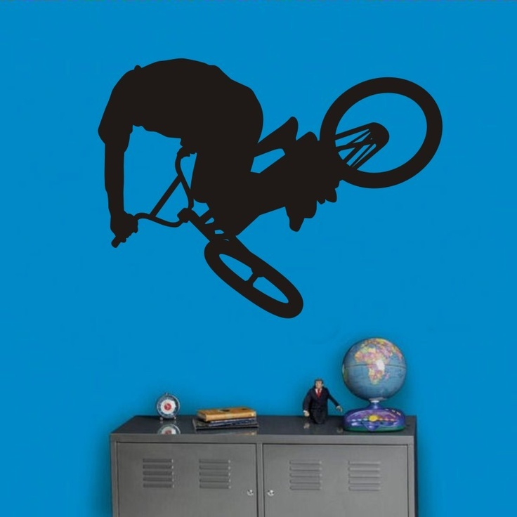 Bmx Freestyle Vinyl Wall Deacl Graphic Art  Size Large (style 5).. $23.50, via Etsy...Judson's room