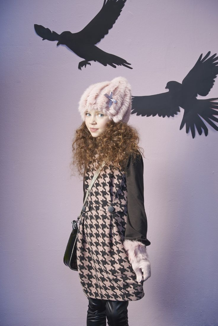John Galliano kids winter 2013  overlarge dogtooth checks for the girlswear collection
