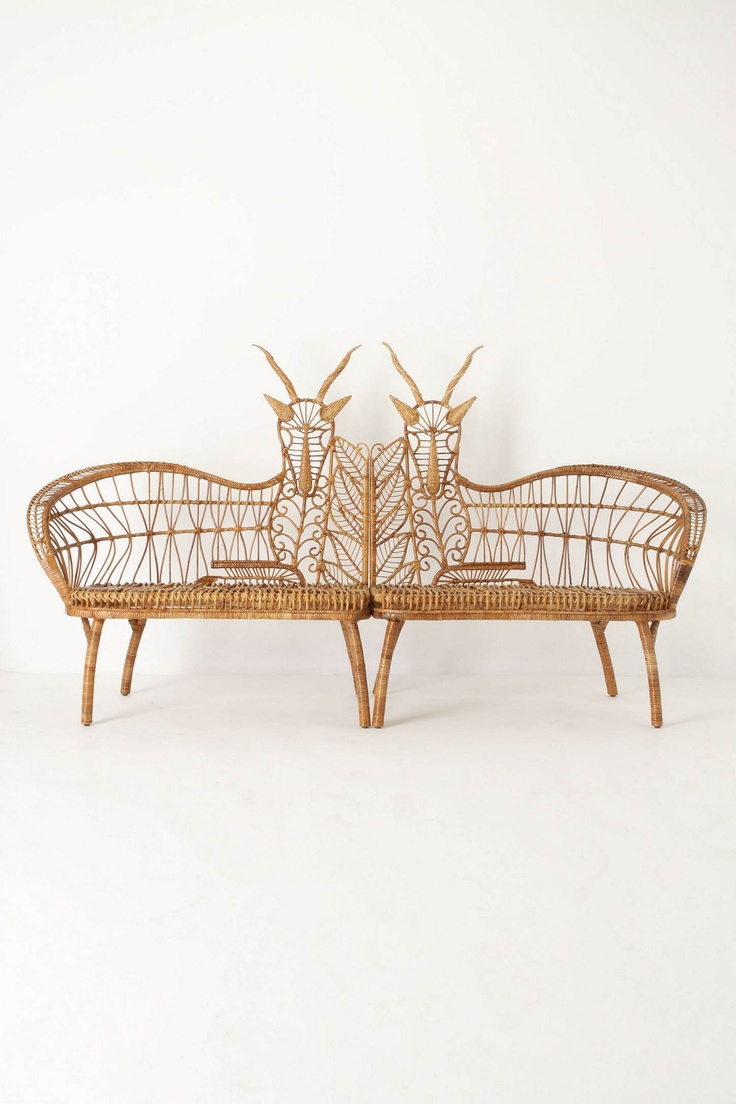 Springbok Benches from Anthropologie - Handwoven rattan forms a graceful pair of majestic grassland creatures. Nestled together, they form a long, mirror-image seat. Separated, they allow you to spread the savannah's grandeur around the room.