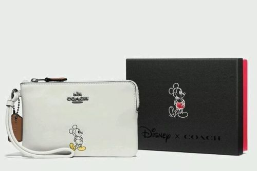 NWT COACH DISNEY MICKEY MOUSE CHALK LEATHER ZIP CORNER WRISTLET WALLET CLUTCH  #Coach #Clutch