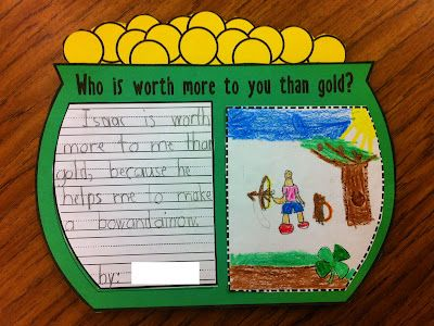 """""""Who Is Worth More To You Than Gold?"""" is a lovely idea for a March creative writing assignment and bulletin board display."""