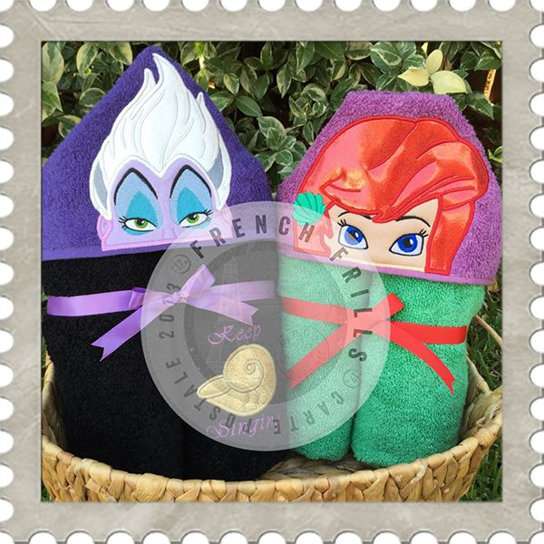 Sea Witch & Mermaid hooded towel designs. #Embroidery #Applique