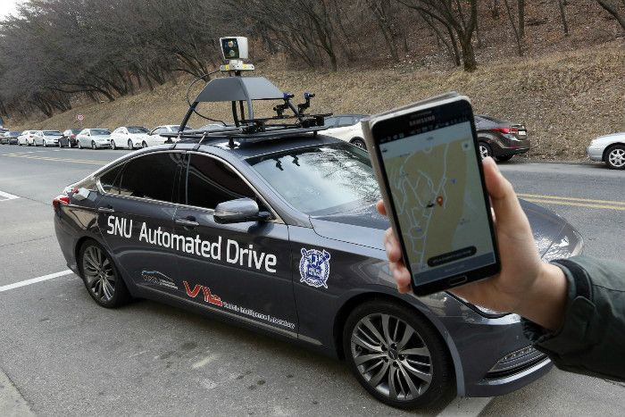 A South Korean university is testing a sedan that can pick up and transport passengers without a human driver, giving a glimpse into the future of autonomous public transport.