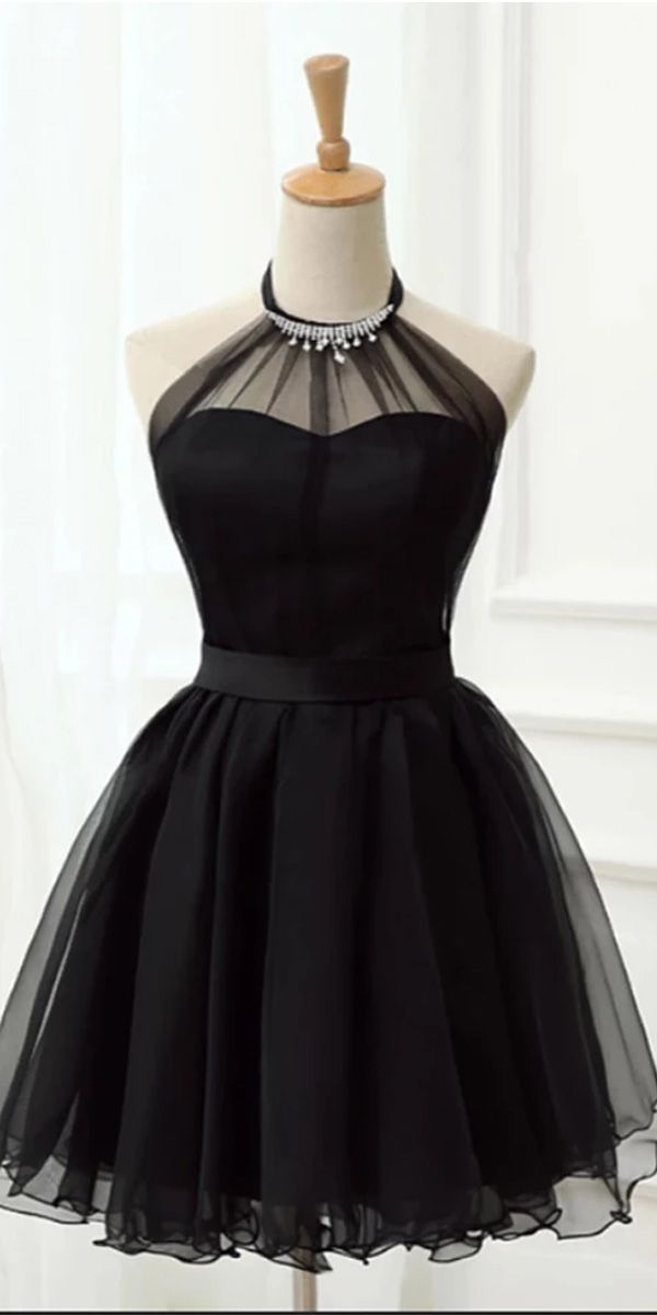 Laurafashionshop – Halter Black Tulle Beaded Short Cute Prom Dress Homecoming Dresses Party Hoco – Glamorous Black
