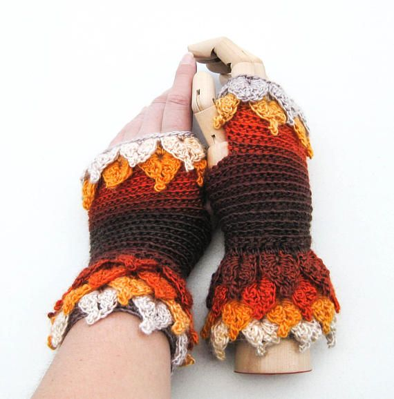 Dragon Scale Gloves  Crochet Fingerless Wool Gloves