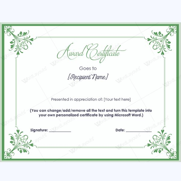 99 best Award Certificate Templates images on Pinterest Award - award certificate template for word