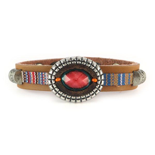 Gypsy armband bruin en roodtinten   Gewoon! Sieraden