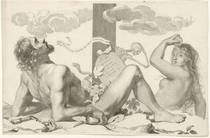 Adam en Eva aan de voet van het kruis, Claude Mellan, 1608 - 1688