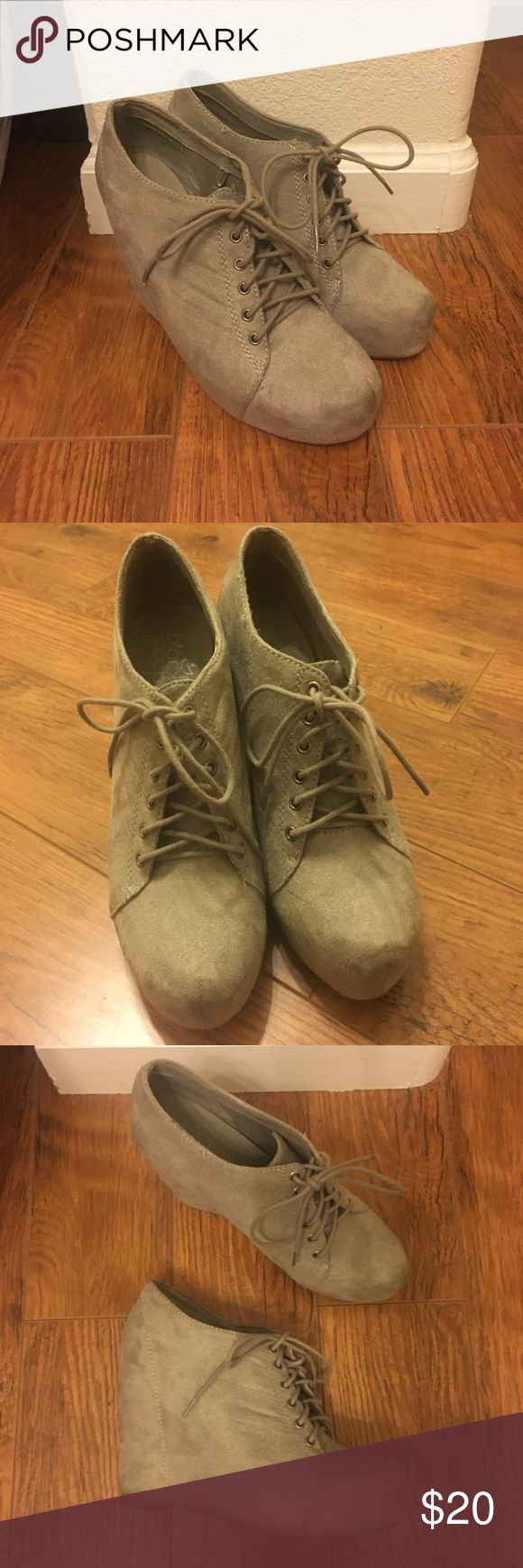 Bootie/wedge heels Taupe suede bootie heels Size 8 PacSun Shoes Wedges